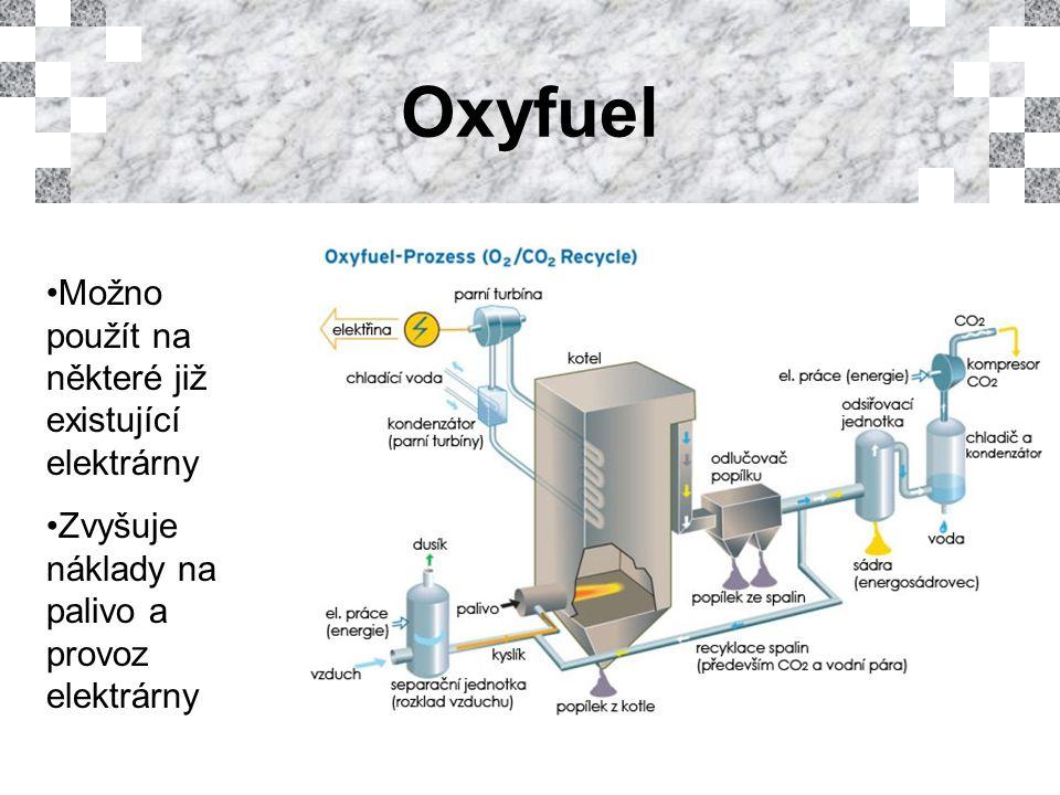 Oxyfuel Možno použít na některé již existující elektrárny Zvyšuje náklady na palivo a provoz elektrárny