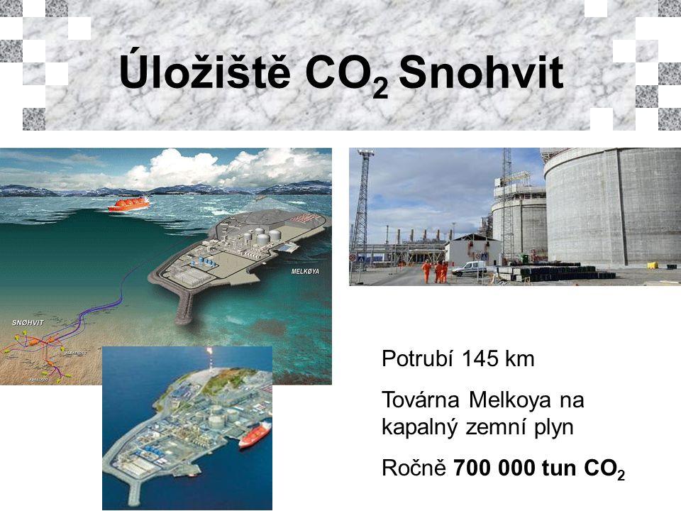 Potrubí 145 km Továrna Melkoya na kapalný zemní plyn Ročně 700 000 tun CO 2
