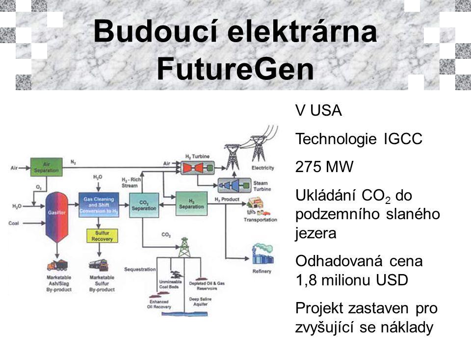 V USA Technologie IGCC 275 MW Ukládání CO 2 do podzemního slaného jezera Odhadovaná cena 1,8 milionu USD Projekt zastaven pro zvyšující se náklady