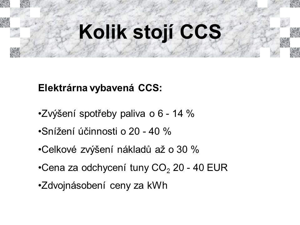 Kolik stojí CCS Elektrárna vybavená CCS: Zvýšení spotřeby paliva o 6 - 14 % Snížení účinnosti o 20 - 40 % Celkové zvýšení nákladů až o 30 % Cena za odchycení tuny CO 2 20 - 40 EUR Zdvojnásobení ceny za kWh