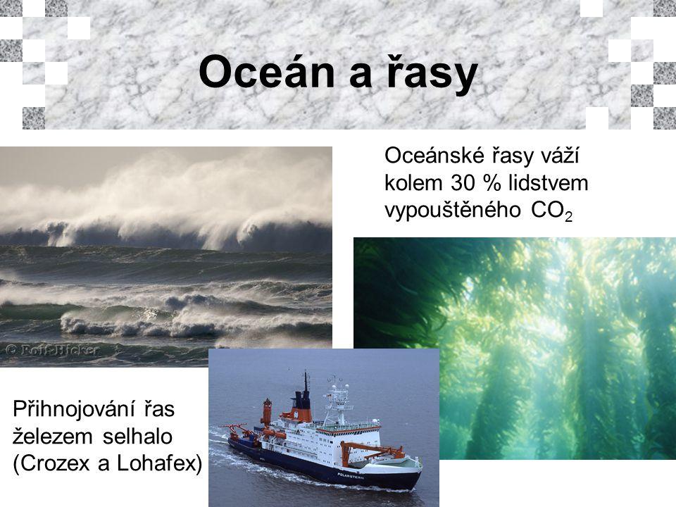 Oceán a řasy Oceánské řasy váží kolem 30 % lidstvem vypouštěného CO 2 Přihnojování řas železem selhalo (Crozex a Lohafex)