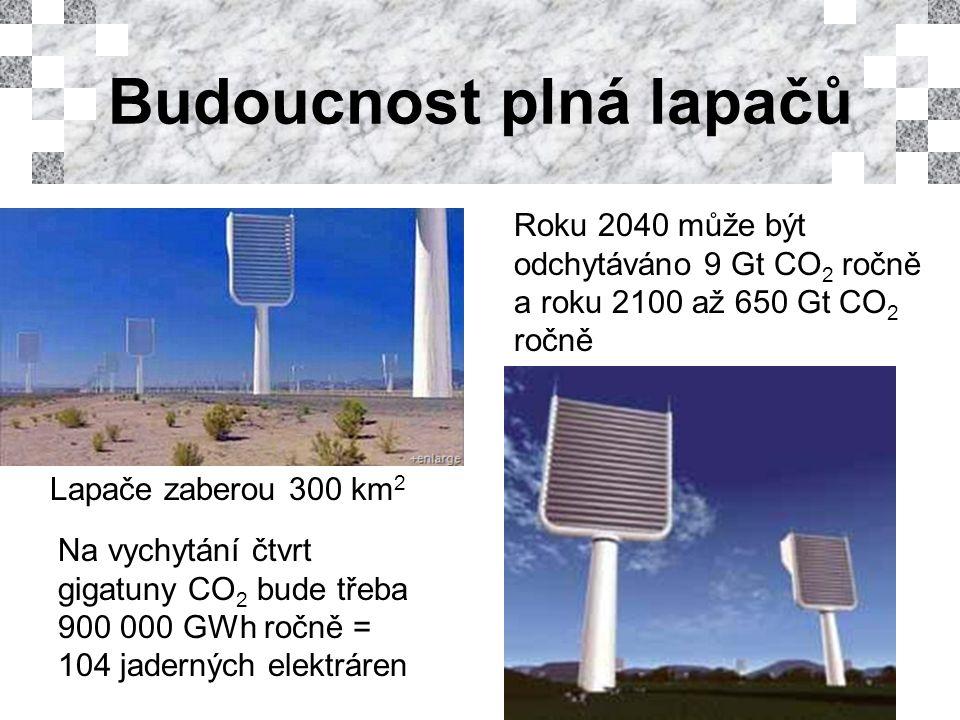 Roku 2040 může být odchytáváno 9 Gt CO 2 ročně a roku 2100 až 650 Gt CO 2 ročně Lapače zaberou 300 km 2 Na vychytání čtvrt gigatuny CO 2 bude třeba 900 000 GWh ročně = 104 jaderných elektráren