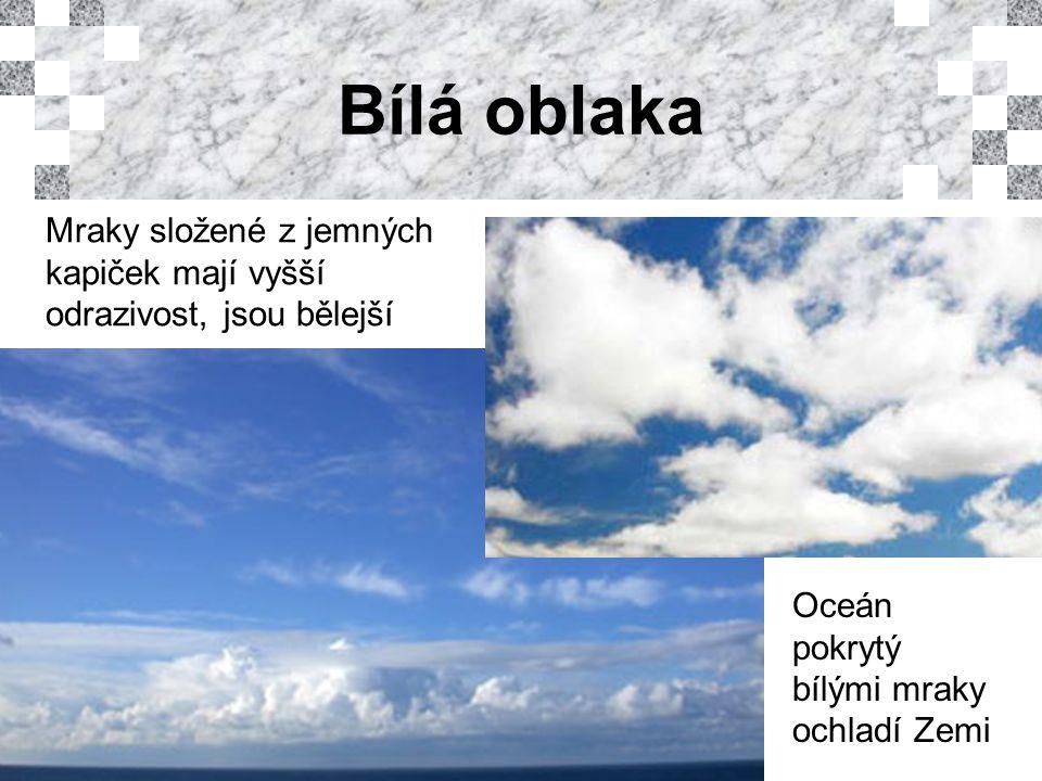 Bílá oblaka Mraky složené z jemných kapiček mají vyšší odrazivost, jsou bělejší Oceán pokrytý bílými mraky ochladí Zemi