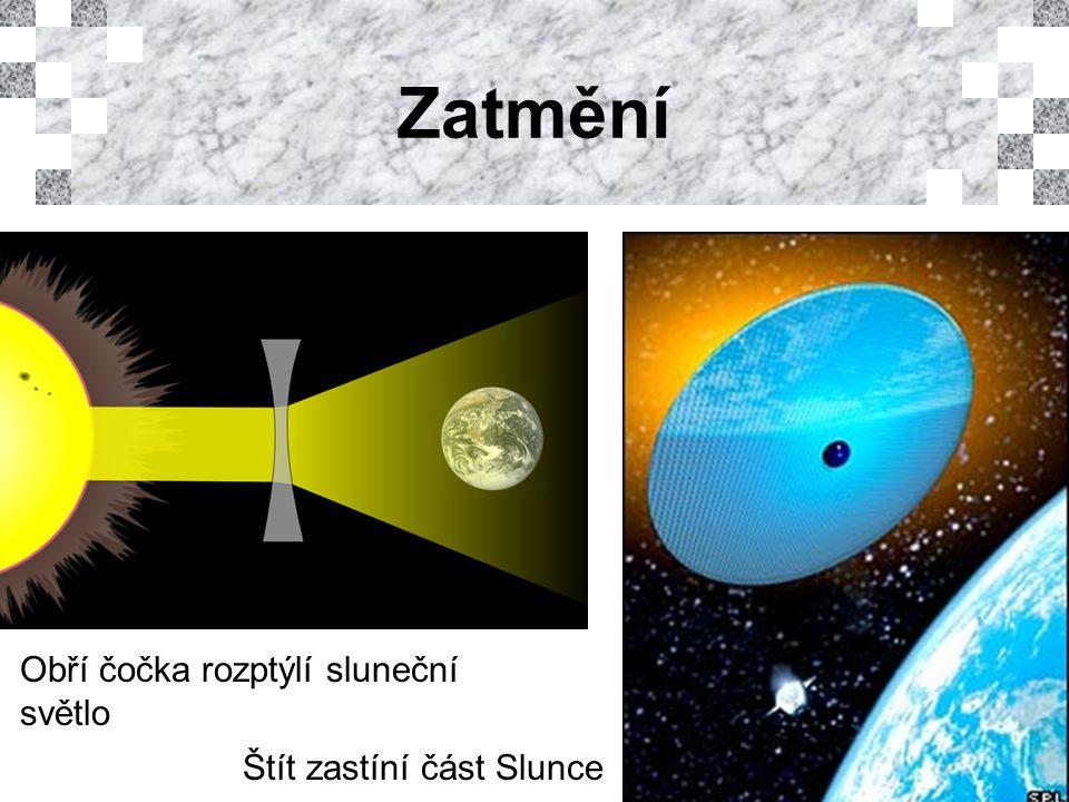 Zatmění Obří čočka rozptýlí sluneční světlo Štít zastíní část Slunce