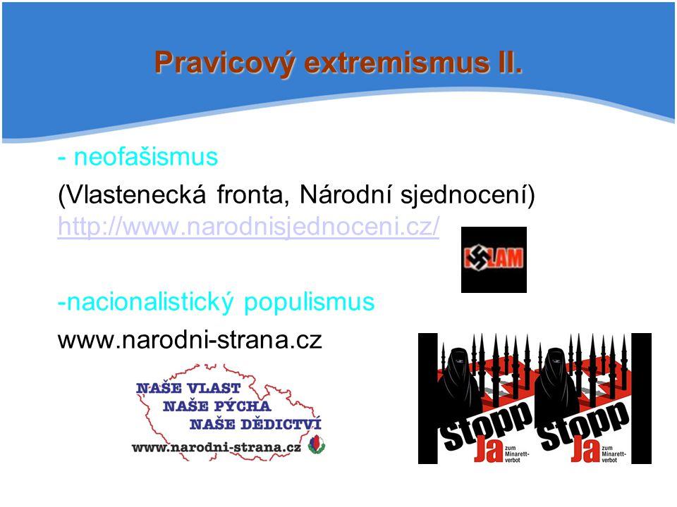 Pravicový extremismus II. - neofašismus (Vlastenecká fronta, Národní sjednocení) http://www.narodnisjednoceni.cz/ http://www.narodnisjednoceni.cz/ -na