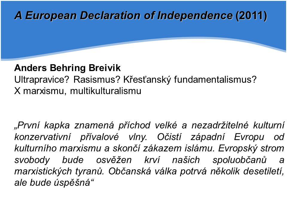 A European Declaration of Independence (2011) Anders Behring Breivik Ultrapravice? Rasismus? Křesťanský fundamentalismus? X marxismu, multikulturalism