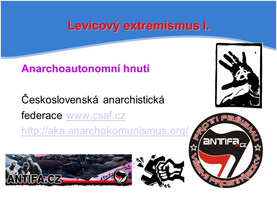 Levicový extremismus I. Anarchoautonomní hnutí Československá anarchistická federace www.csaf.czwww.csaf.cz http://aka.anarchokomunismus.org/ Antifaši