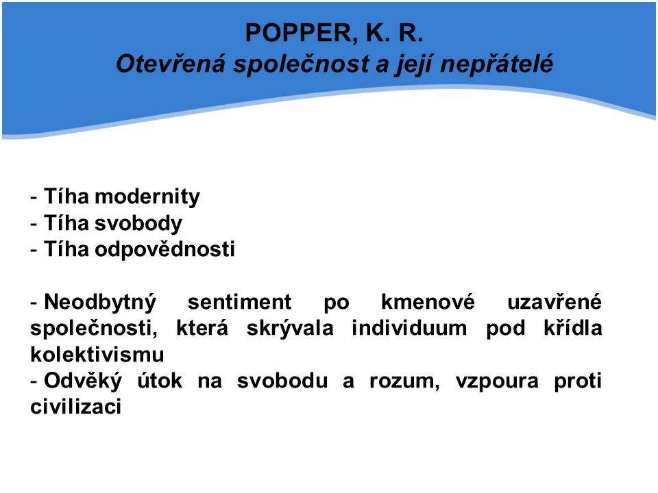 POPPER, K. R. Otevřená společnost a její nepřátelé - Tíha modernity - Tíha svobody - Tíha odpovědnosti - Neodbytný sentiment po kmenové uzavřené spole