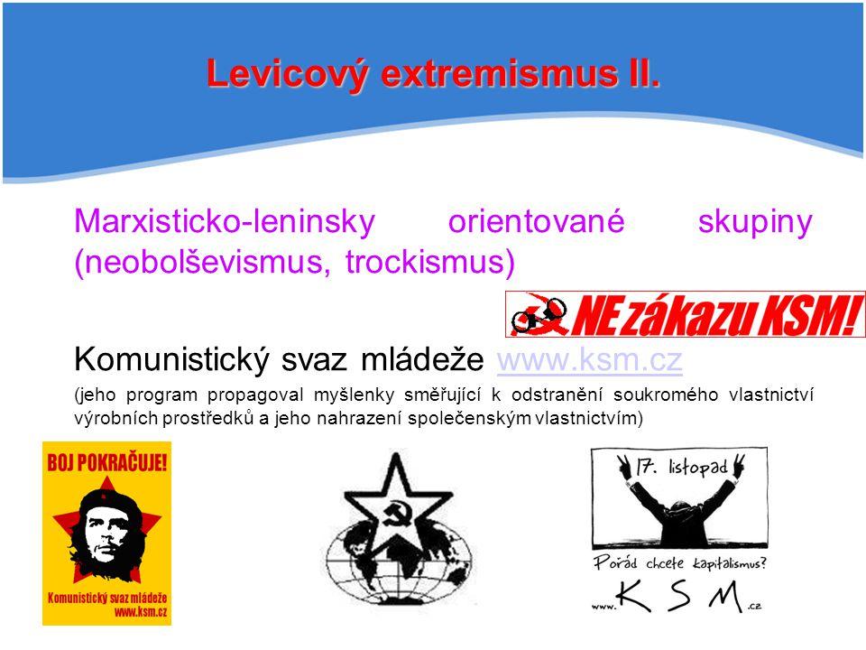 Levicový extremismus II. Marxisticko-leninsky orientované skupiny (neobolševismus, trockismus) Komunistický svaz mládeže www.ksm.czwww.ksm.cz (jeho pr