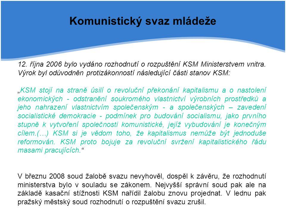 Komunistický svaz mládeže 12. října 2006 bylo vydáno rozhodnutí o rozpuštění KSM Ministerstvem vnitra. Výrok byl odůvodněn protizákonností následující