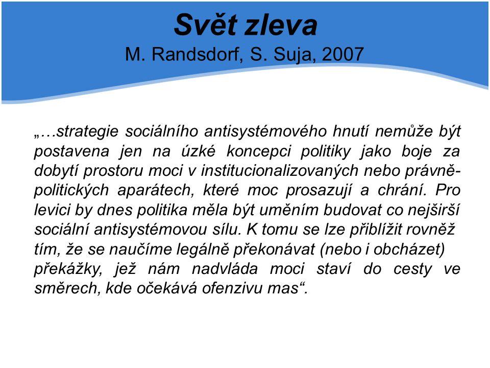"""Svět zleva M. Randsdorf, S. Suja, 2007 """"…strategie sociálního antisystémového hnutí nemůže být postavena jen na úzké koncepci politiky jako boje za do"""