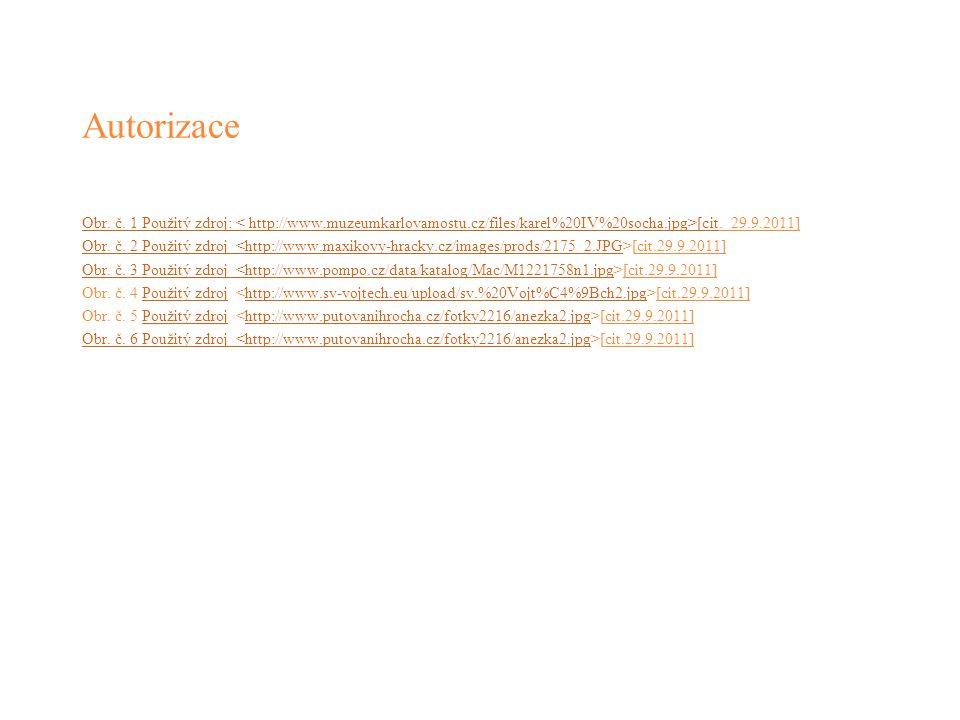 Autorizace Obr. č. 1 Použitý zdroj: < http://www.muzeumkarlovamostu.cz/files/karel%20IV%20socha.jpg>[citObr. č. 1 Použitý zdroj: [cit. 29.9.2011] Obr.
