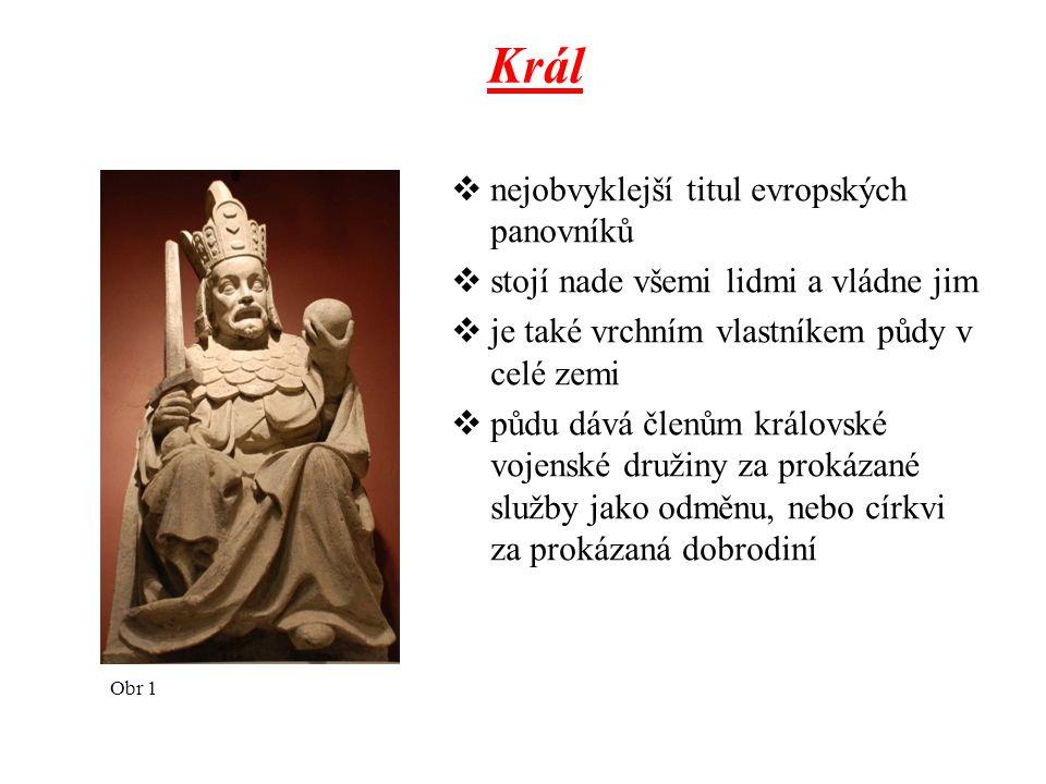 Král  nejobvyklejší titul evropských panovníků  stojí nade všemi lidmi a vládne jim  je také vrchním vlastníkem půdy v celé zemi  půdu dává členům