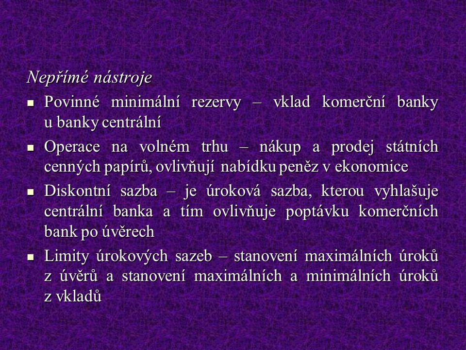 Nepřímé nástroje Povinné minimální rezervy – vklad komerční banky u banky centrální Povinné minimální rezervy – vklad komerční banky u banky centrální