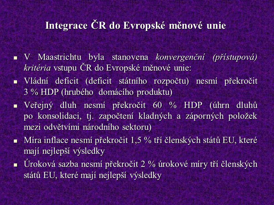 Integrace ČR do Evropské měnové unie V Maastrichtu byla stanovena konvergenční (přístupová) kritéria vstupu ČR do Evropské měnové unie: V Maastrichtu
