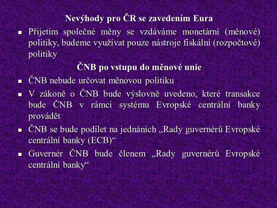 Nevýhody pro ČR se zavedením Eura Přijetím společné měny se vzdáváme monetární (měnové) politiky, budeme využívat pouze nástroje fiskální (rozpočtové)