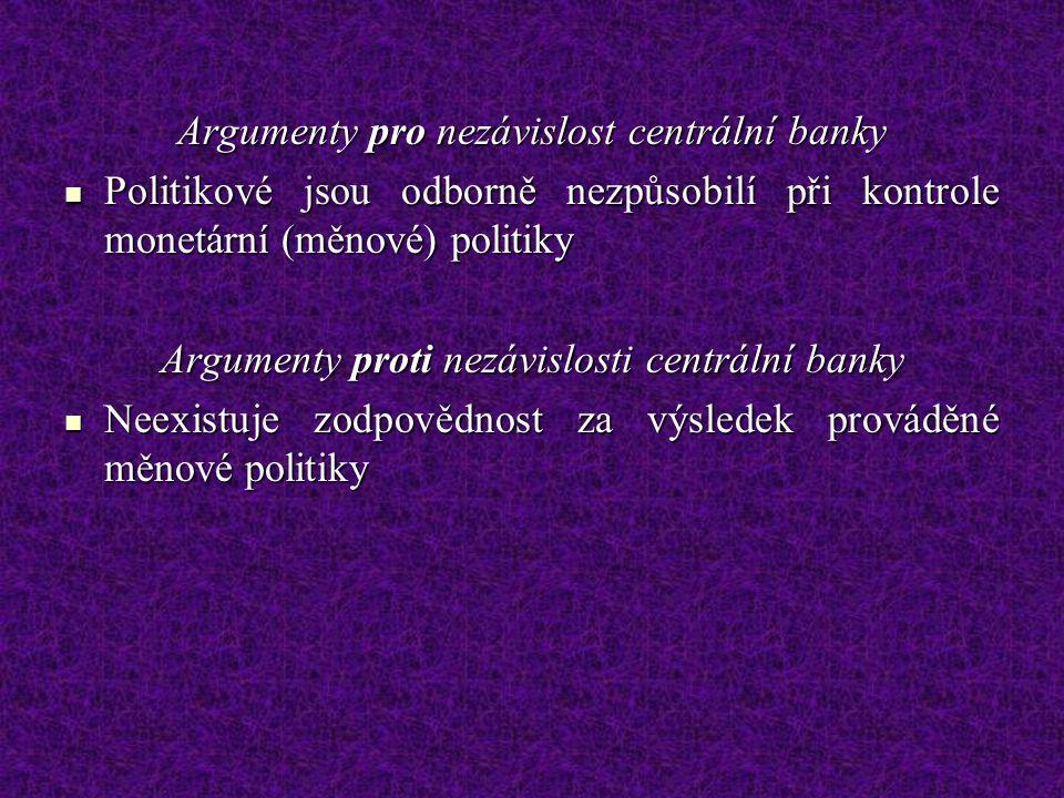 Argumenty pro nezávislost centrální banky Politikové jsou odborně nezpůsobilí při kontrole monetární (měnové) politiky Politikové jsou odborně nezpůso