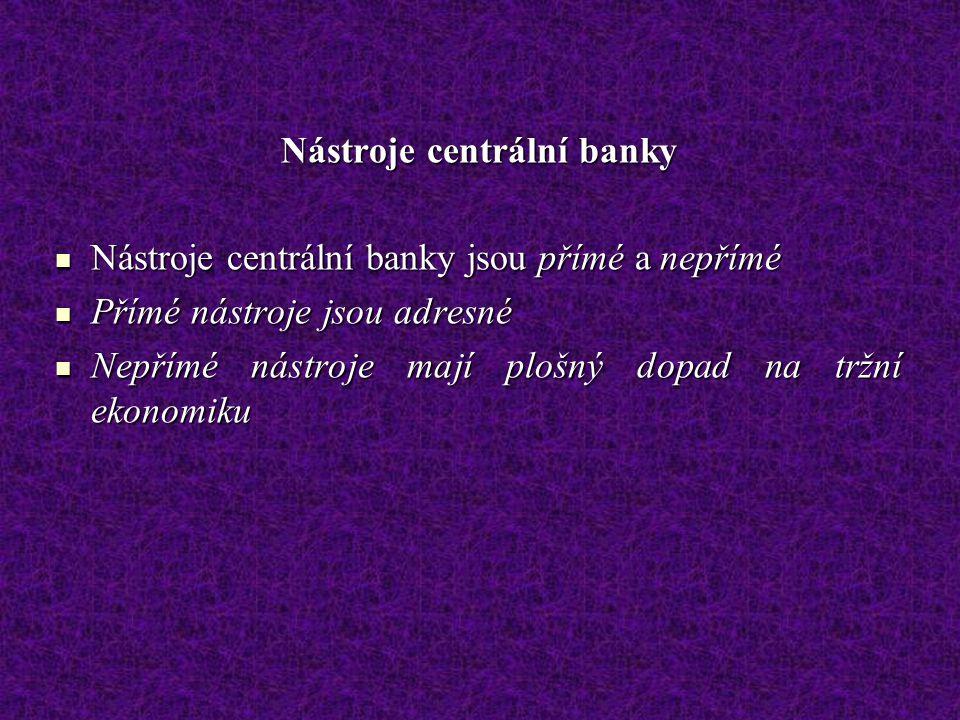 Nástroje centrální banky Nástroje centrální banky jsou přímé a nepřímé Nástroje centrální banky jsou přímé a nepřímé Přímé nástroje jsou adresné Přímé