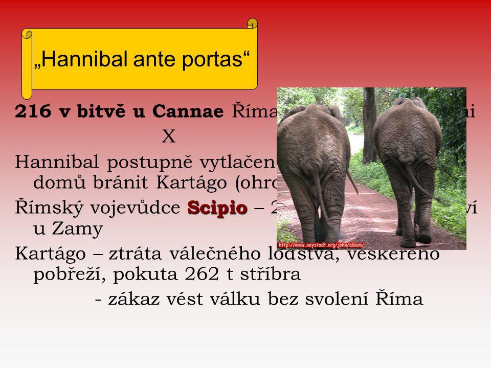 216 v bitvě u Cannae Římané na hlavu poraženi X Hannibal postupně vytlačen z Itálie a vrací se domů bránit Kartágo (ohroženo Numidií) Scipio Římský vo