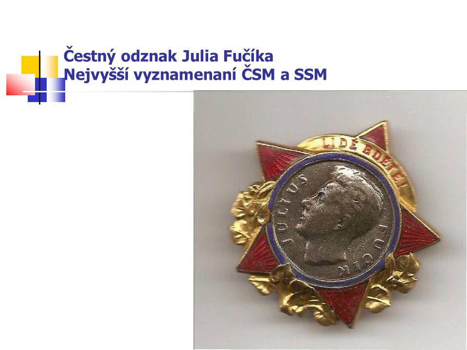 Čestný odznak Julia Fučíka Nejvyšší vyznamenaní ČSM a SSM