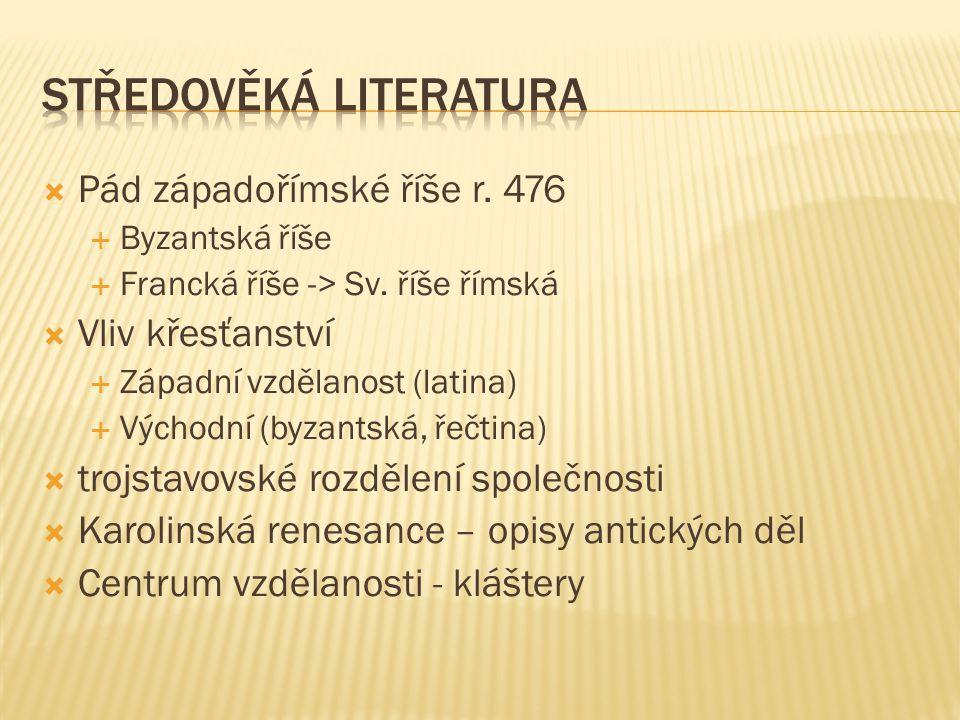  Pád západořímské říše r.476  Byzantská říše  Francká říše -> Sv.