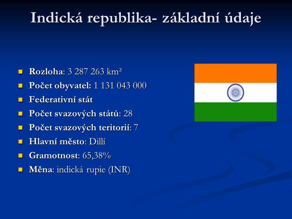 Oficiální název: Indická republika, hindsky: Bharát Ganrádžja Oficiální název: Indická republika, hindsky: Bharát Ganrádžja Jazyky: hindština, angličtina, kašmírština,… Jazyky: hindština, angličtina, kašmírština,… Člen Commonwealthu Člen Commonwealthu Náboženství: hinduismus, islám, buddhismus, sikhové, džinismus Náboženství: hinduismus, islám, buddhismus, sikhové, džinismus
