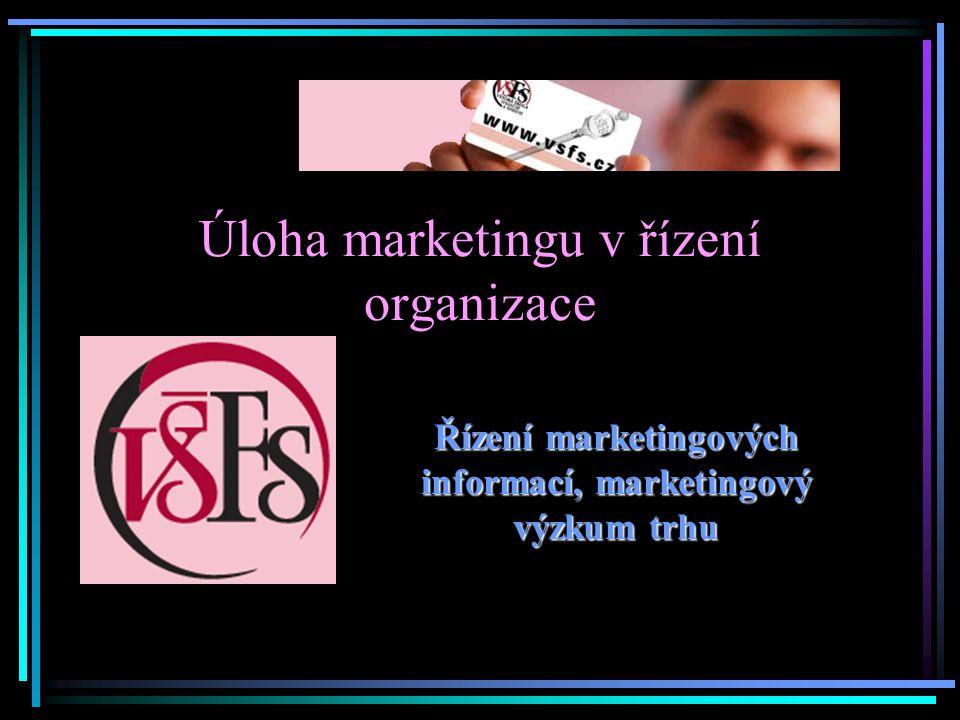 Úloha marketingu v řízení organizace Řízení marketingových informací, marketingový výzkum trhu