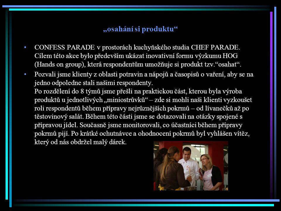 """""""osahání si produktu"""" CONFESS PARADE v prostorách kuchyňského studia CHEF PARADE. Cílem této akce bylo především ukázat inovativní formu výzkumu HOG ("""