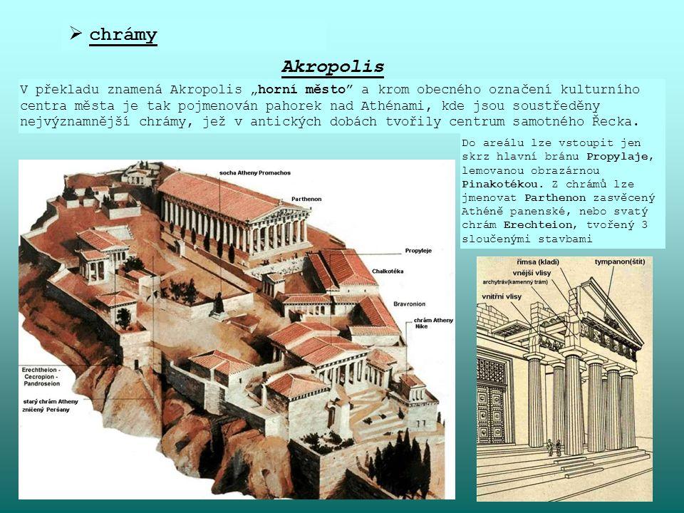 """ chrámy Akropolis V překladu znamená Akropolis """"horní město"""" a krom obecného označení kulturního centra města je tak pojmenován pahorek nad Athénami,"""