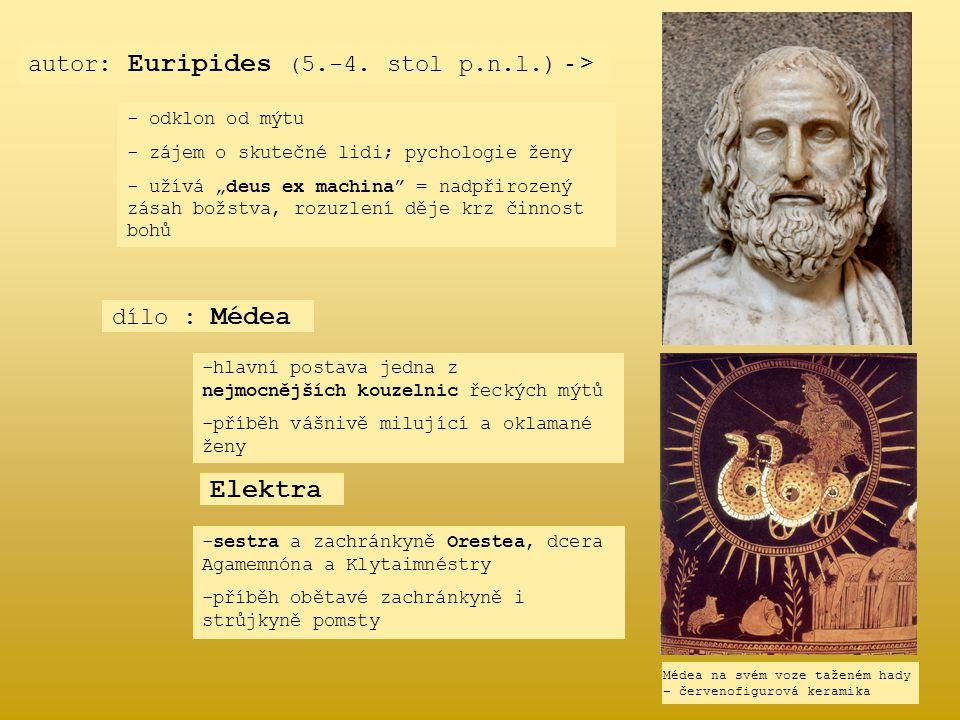 """autor: Euripides ( 5.-4. stol p.n.l.) - > dílo : Médea - o- odklon od mýtu - zájem o skutečné lidi; pychologie ženy - užívá """"deus ex machina"""" = nadpři"""
