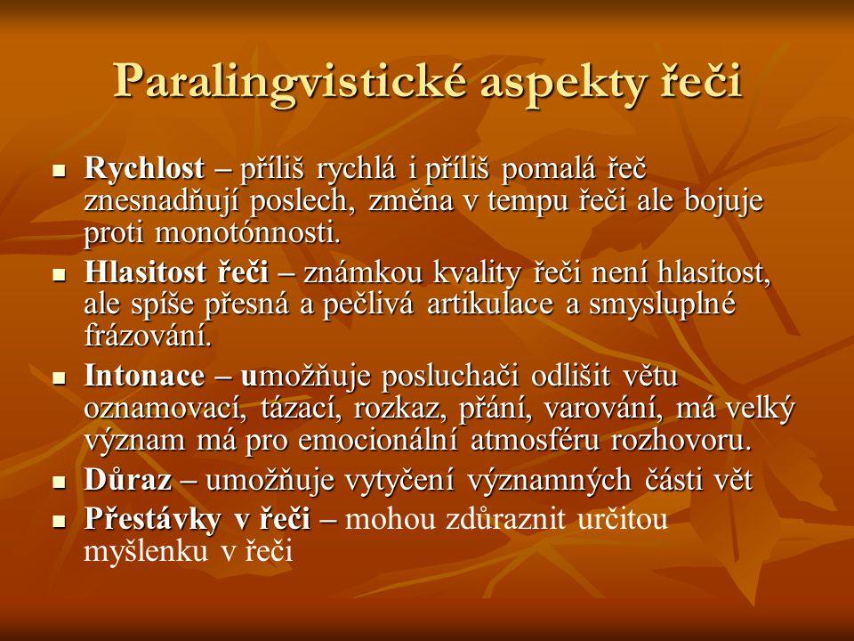 Paralingvistické aspekty řeči Rychlost – příliš rychlá i příliš pomalá řeč znesnadňují poslech, změna v tempu řeči ale bojuje proti monotónnosti. Rych