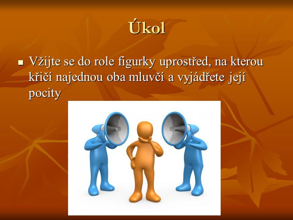 Úkol Vžijte se do role figurky uprostřed, na kterou křičí najednou oba mluvčí a vyjádřete její pocity Vžijte se do role figurky uprostřed, na kterou k