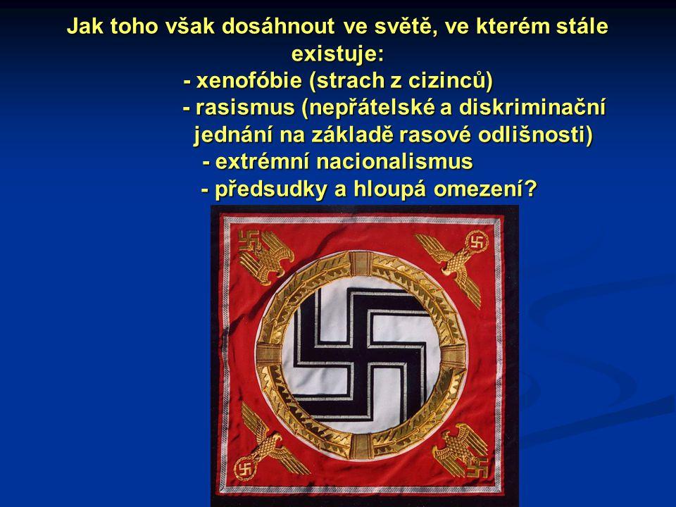 Jak toho však dosáhnout ve světě, ve kterém stále existuje: - xenofóbie (strach z cizinců) - rasismus (nepřátelské a diskriminační jednání na základě rasové odlišnosti) - extrémní nacionalismus - předsudky a hloupá omezení
