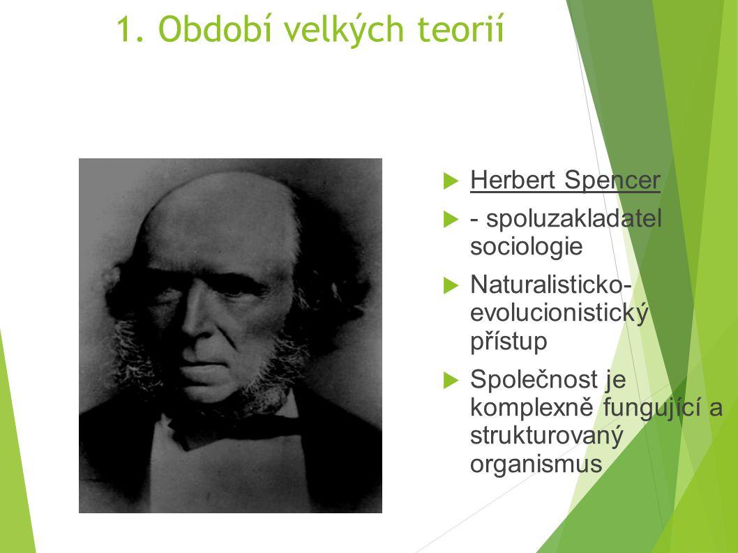 1. Období velkých teorií  Herbert Spencer  - spoluzakladatel sociologie  Naturalisticko- evolucionistický přístup  Společnost je komplexně fungují
