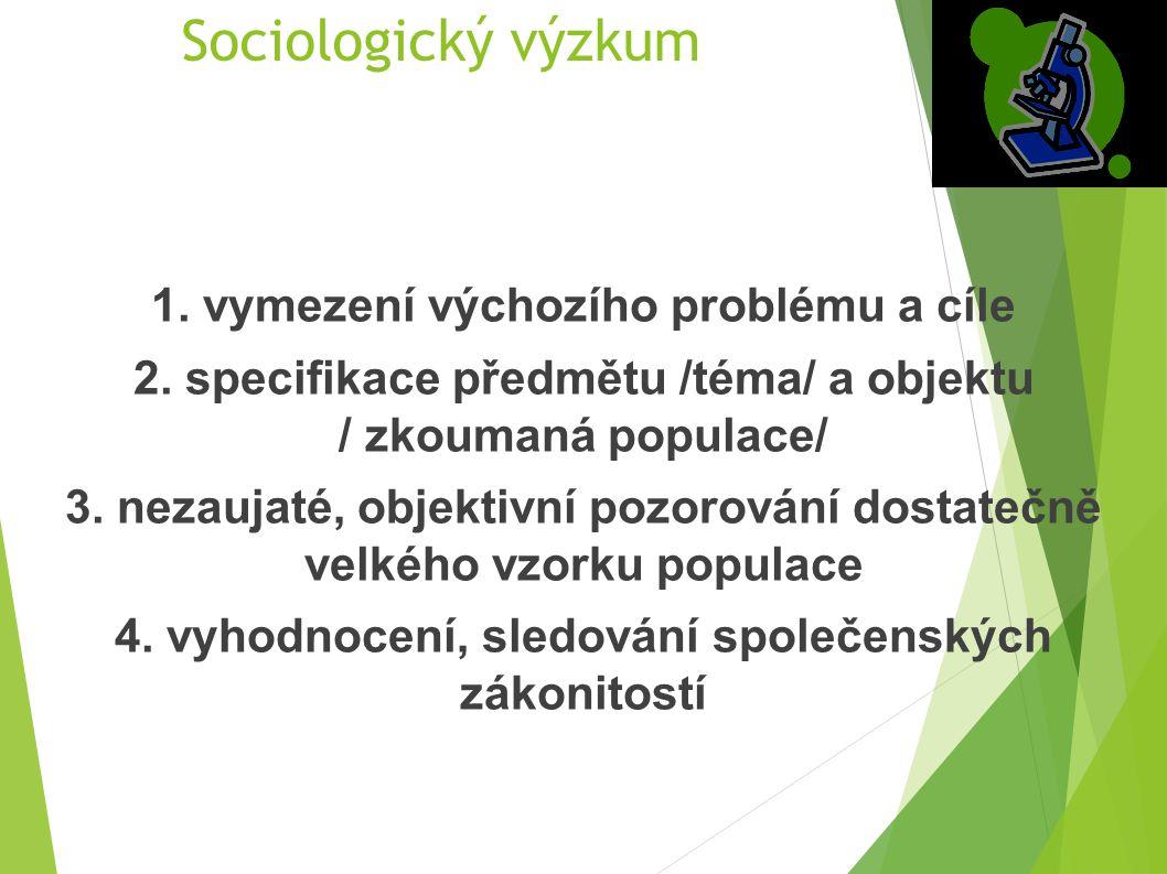 Sociologický výzkum 1. vymezení výchozího problému a cíle 2. specifikace předmětu /téma/ a objektu / zkoumaná populace/ 3. nezaujaté, objektivní pozor