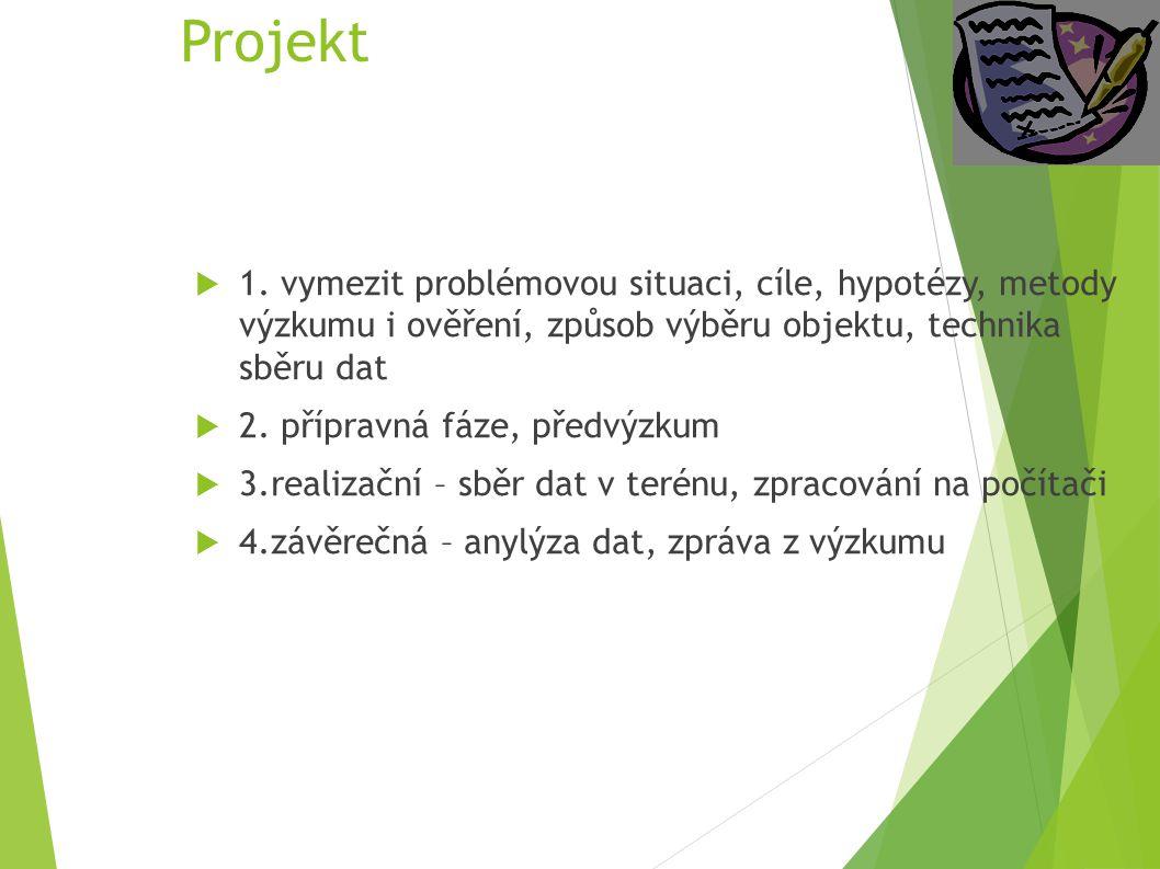 Projekt  1. vymezit problémovou situaci, cíle, hypotézy, metody výzkumu i ověření, způsob výběru objektu, technika sběru dat  2. přípravná fáze, pře