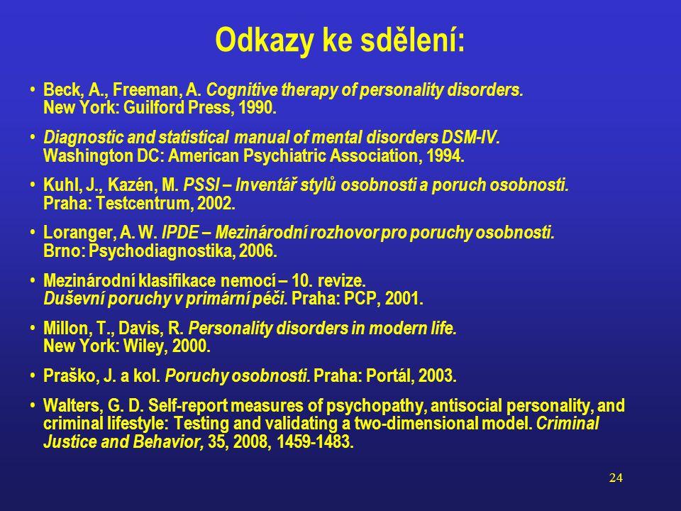 23 Intuitivní odhad sklonů k trestné činnosti NARCISTICKÁ O.