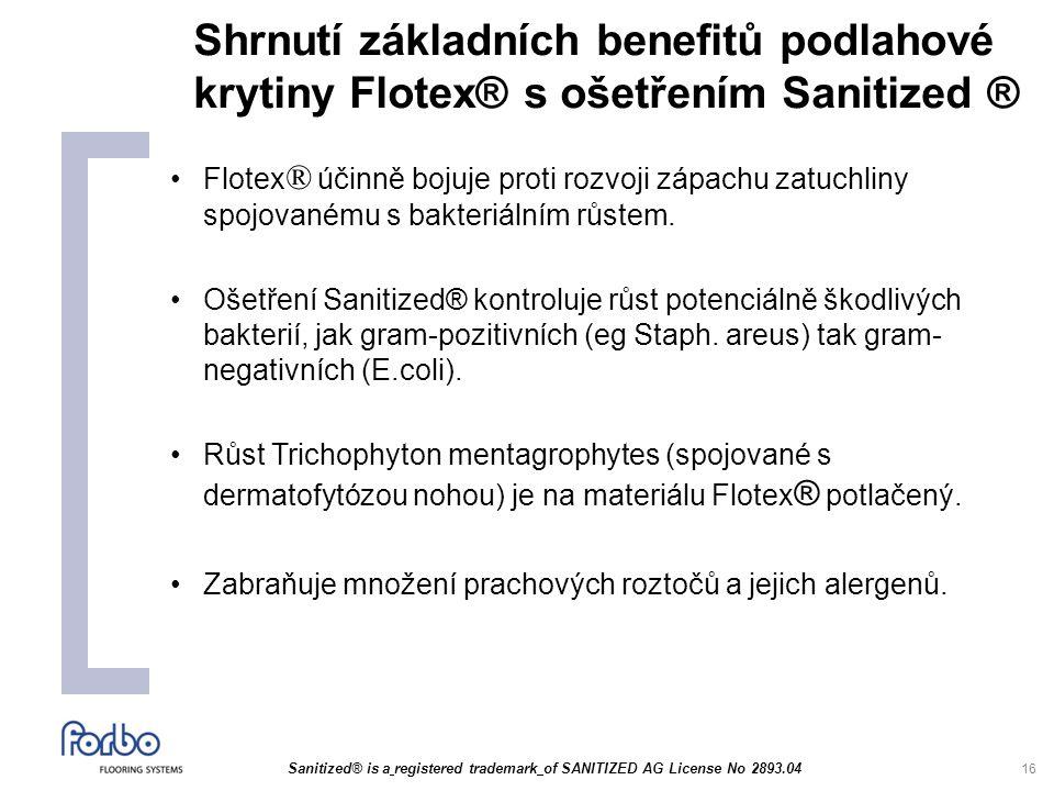 16 Shrnutí základních benefitů podlahové krytiny Flotex® s ošetřením Sanitized ® Flotex ® účinně bojuje proti rozvoji zápachu zatuchliny spojovanému s bakteriálním růstem.