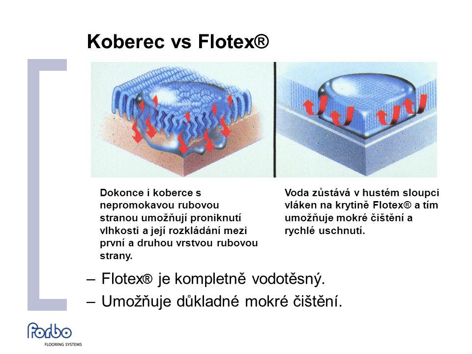Koberec vs Flotex® –Flotex ® je kompletně vodotěsný.