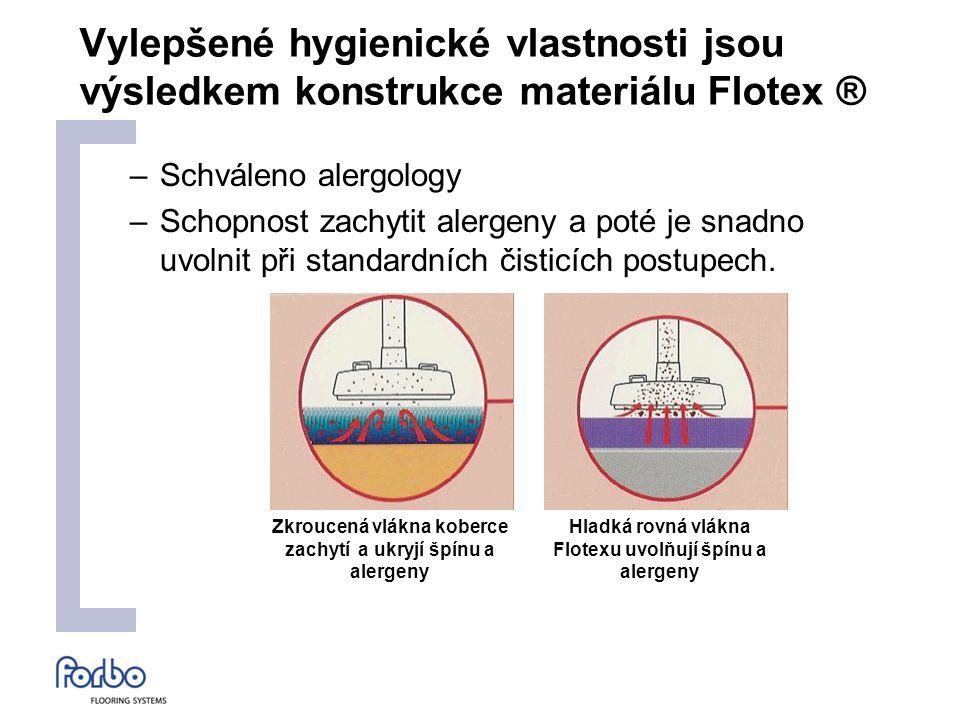 Vylepšené hygienické vlastnosti jsou výsledkem konstrukce materiálu Flotex ® –Schváleno alergology –Schopnost zachytit alergeny a poté je snadno uvolnit při standardních čisticích postupech.