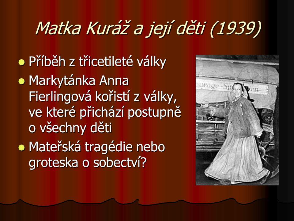 Matka Kuráž a její děti (1939) Příběh z třicetileté války Příběh z třicetileté války Markytánka Anna Fierlingová kořistí z války, ve které přichází po