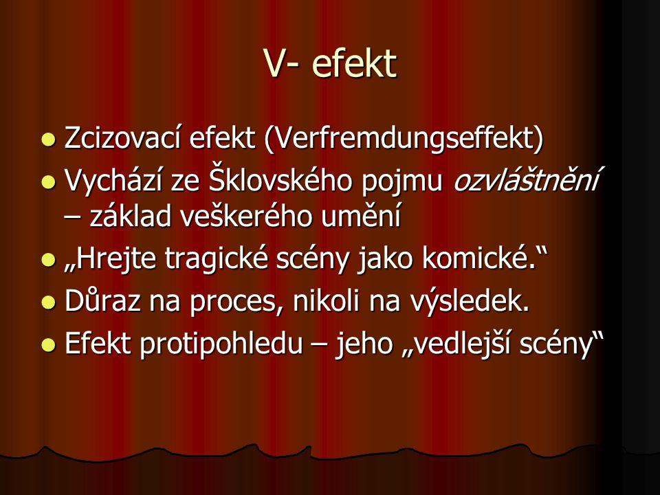 V- efekt Zcizovací efekt (Verfremdungseffekt) Zcizovací efekt (Verfremdungseffekt) Vychází ze Šklovského pojmu ozvláštnění – základ veškerého umění Vy