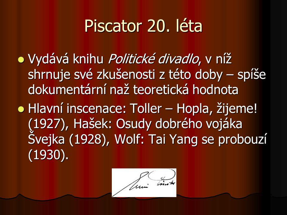 Piscator 20. léta Vydává knihu Politické divadlo, v níž shrnuje své zkušenosti z této doby – spíše dokumentární naž teoretická hodnota Vydává knihu Po