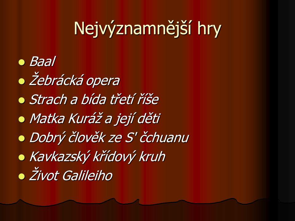 Nejvýznamnější hry Baal Baal Žebrácká opera Žebrácká opera Strach a bída třetí říše Strach a bída třetí říše Matka Kuráž a její děti Matka Kuráž a jej