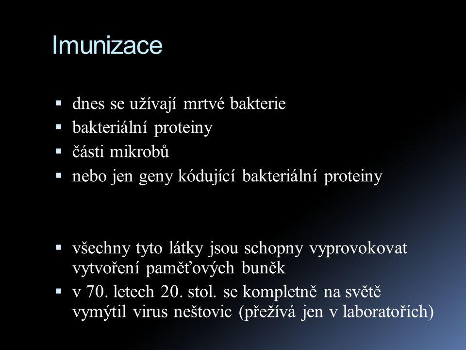 Imunizace  dnes se užívají mrtvé bakterie  bakteriální proteiny  části mikrobů  nebo jen geny kódující bakteriální proteiny  všechny tyto látky j