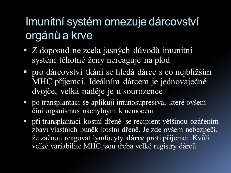 Imunitní systém omezuje dárcovství orgánů a krve  Z doposud ne zcela jasných důvodů imunitní systém těhotné ženy nereaguje na plod  pro dárcovství t