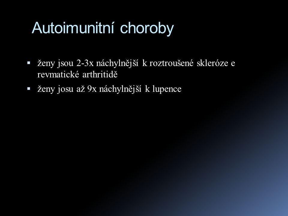 Imunodeficience  Je téměř tolik imunodeficiencí jako je komponent imunitního systému  SCID (severe combined immunodeficiency) jsou zasaženy obě větve imunitního systému, humorální i buněčná imunita  genová terapie byla poprvé použita 1990 právě při léčbě jedné z těchto deficiencí, zvané ADA (deficience enzymu adenosindeaminázy)