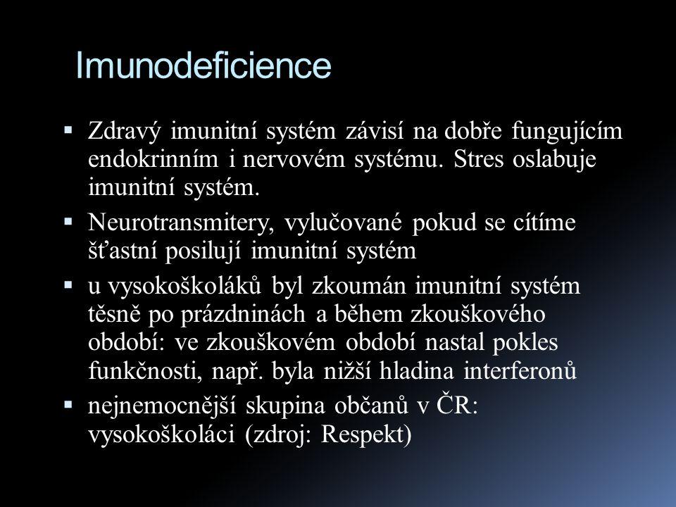 Imunodeficience  Zdravý imunitní systém závisí na dobře fungujícím endokrinním i nervovém systému. Stres oslabuje imunitní systém.  Neurotransmitery
