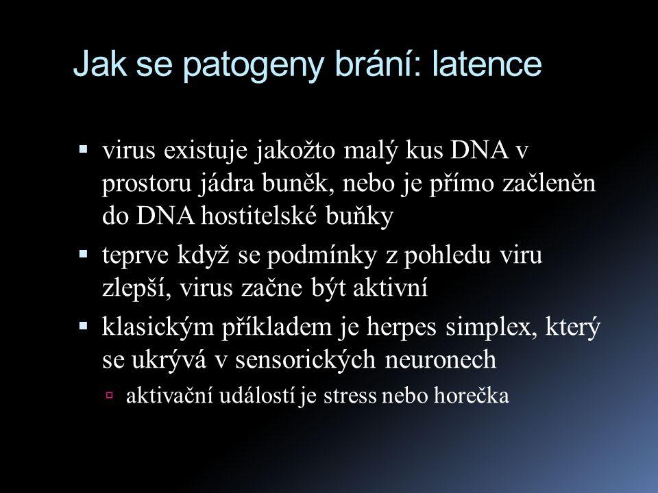 Jak se patogeny brání: latence  virus existuje jakožto malý kus DNA v prostoru jádra buněk, nebo je přímo začleněn do DNA hostitelské buňky  teprve
