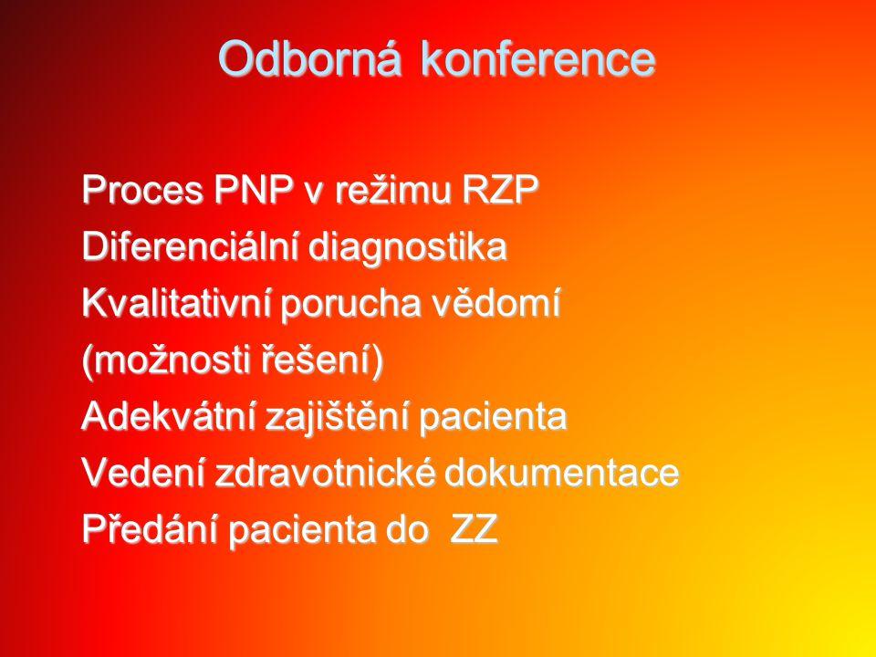 Odborná konference Proces PNP v režimu RZP Proces PNP v režimu RZP Diferenciální diagnostika Diferenciální diagnostika Kvalitativní porucha vědomí Kva